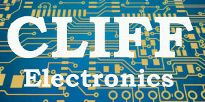 CLIFF Electronics logo with PCB background