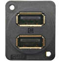 Dual USB Sockets with Earth in XLR Shell - 24mm Mounting (Rectangular)